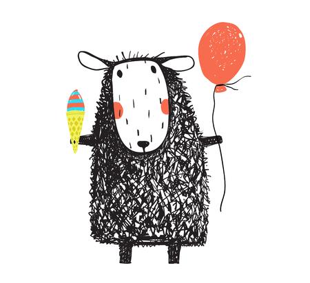 Cute adorable sheep holiday. Hand drawn doodle vector cartoon.