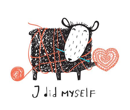 Adorable oveja tejiendo un corazón con un cartel. Ilustración de vector.