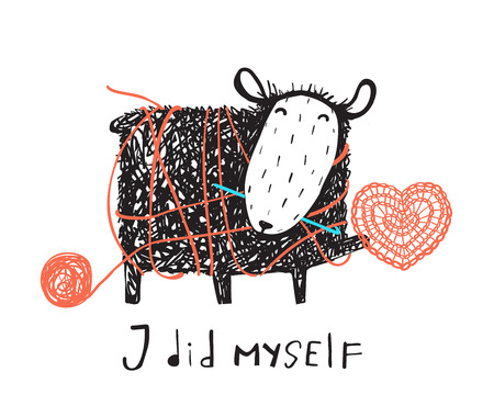 Adorable sheep crocheting a heart with a sign. Vector illustration.