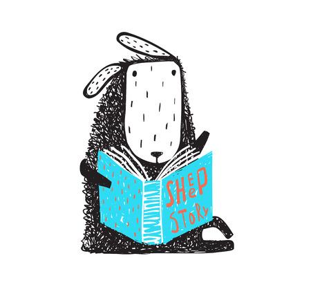 Adorable animal reading. Hand drawn doodle cartoon. Vector illustration.