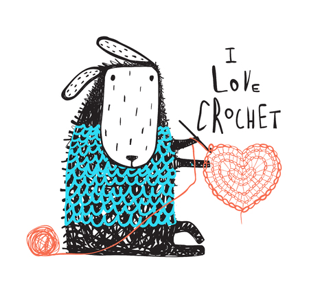 Adorable little sheep crocheting a heart. Vector illustration.