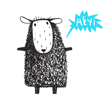 Funny cartoon sheep with word bubble hand drawn scribble style. Vector illustration.