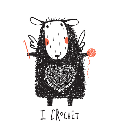 Cute sheep crocheting a heart with quote sign. Vector illustration.