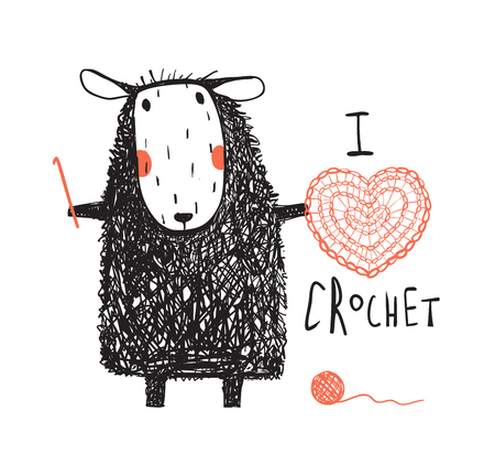 Cute adorable sheep crocheting a red heart. Vector cartoon.