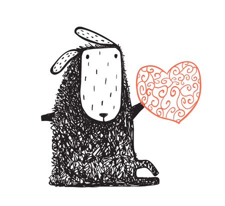 Cute sheep with red heart hand drawn cartoon. Vector illustration.