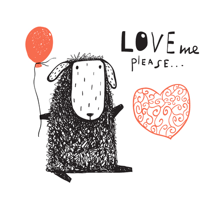 Adorable hand drawn lamb with love me sign. Vector illustration.