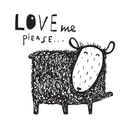 Love me says the sheep sign. Cute hand drawn illustration. Vector cartoon.