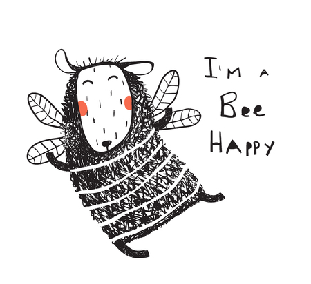 Fun lamb imaging being a bee flying happy. Vector cartoon.