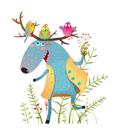 Funny elk or moose and birds in wild. Vector cartoon.
