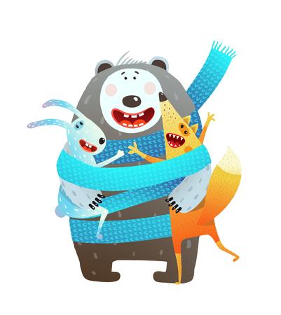 Animal close friendship hugging cute. Vector illustration.