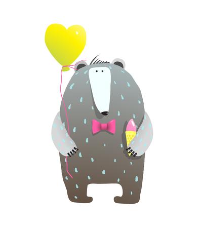 Felicitaciones por sus vacaciones de Bear. Ilustración vectorial Ilustración de vector