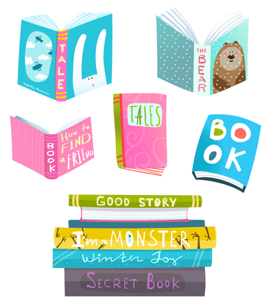 Colorful books set isolated. Vector clip art.