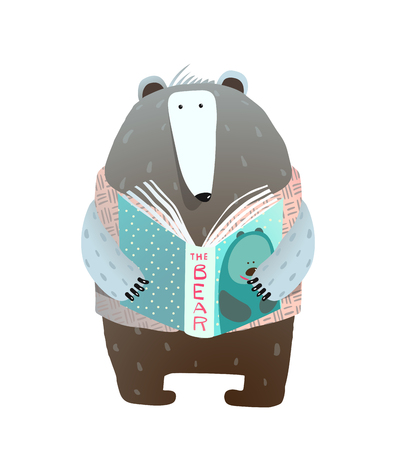 A cute smart dressed bear reading a book about bears. Vector illustration. Standard-Bild - 102842801