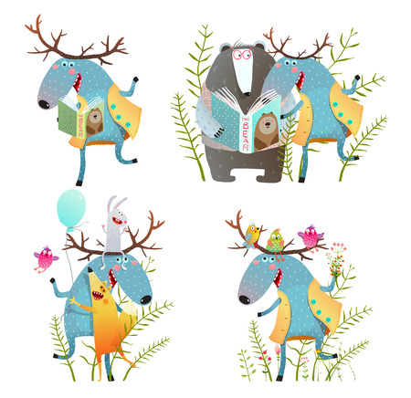 Fun Moose with Bear and Fox Friend. Colorful moose bear fox cartoon for kids set. Vector illustration.