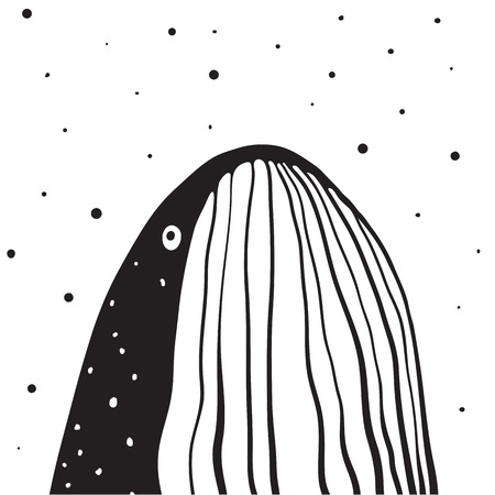 Whale Monochrome Vertical Design. Cropped whale design facing up. Vector illustration.