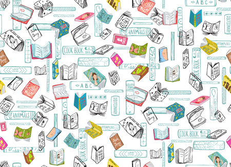 Library books background on transparent. Vector seamless pattern.