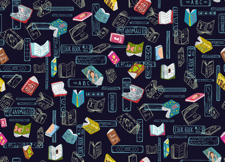 Bookworm dense and tight background with books. Vector illustration. 版權商用圖片