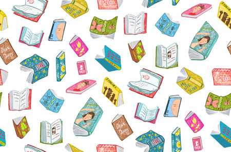 Colorful seamless background of hand drawn books covers illustration.
