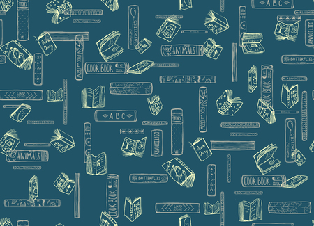 Hand drawn blue and yellow books library background. Vector illustration. 版權商用圖片