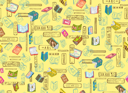Bookstore or library seamless pattern background. Vector design.