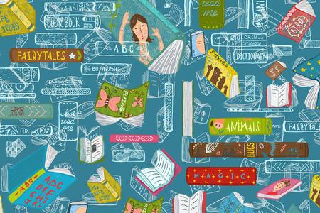 Colorful bookshelf design for education backdrop. Vector illustration.