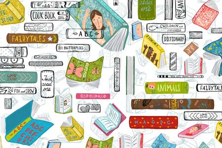 Colorful bookshef design for education background. Vector illustration.