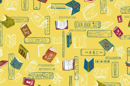 Books hand drawn fun colored background on yellow. Vector cartoon. Stock Photo