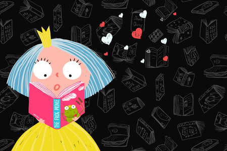 Library reading and education design with little fairy tale princess. Vector cartoon.