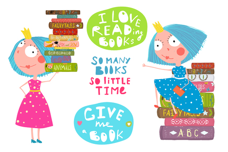 Cute fairy tale princesses with books and lettering signs. Vector cartoon. Illustration