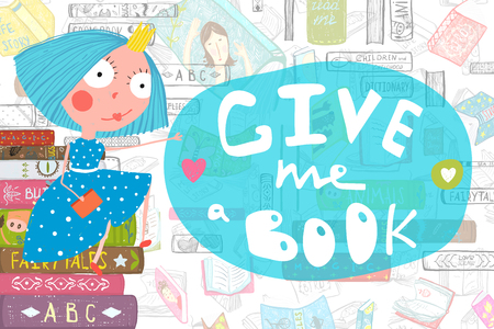 Colorful Reading Book Design Fairy Tale Princess Stock Photo