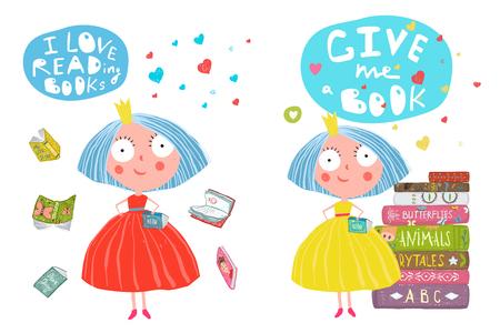 Girls and Books Reading Cartoon