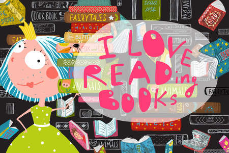 I Love Reading Books Greeting Card Design