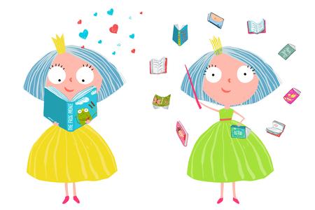 Cute Fairy Tale Princess Reading Magic Books
