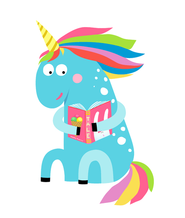 Little blue magic horse reading, fun childish illustration. Vector cartoon.