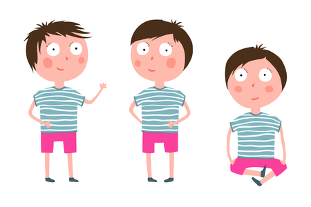 Adorable kid design clip art isolated objects. Vector cartoon.