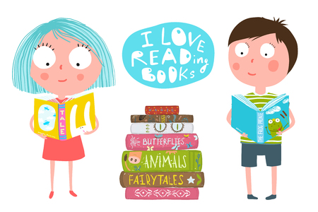 Cute Kids Boy and Girl Reading Books Stock Photo