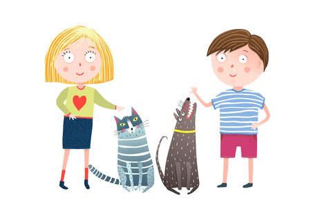 Little kids and home animals cartoon. Vector illustration. Stock Vector - 112344661