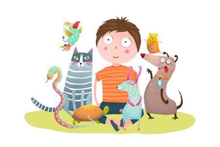 Divertente cartone animato colorato con ragazzino e animali domestici. Illustrazione vettoriale.