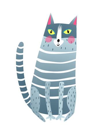 Cartoon clip art cat looking at you. Vector illustration. Vektorgrafik