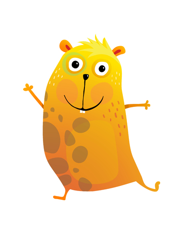 Funny adorable hamster playful cartoon. Vector illustration.
