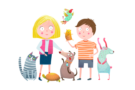 Young kids and domestic animals cartoon. Vector illustration.