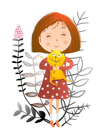 Cute little girl and her adorable funny pet. Vector illustration.