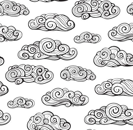 Outline intricate clouds seamless pattern. Vector background. Ilustração