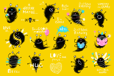 Collection of cute kids hand drawn monsters designer clip art. Vector cartoon. Illustration