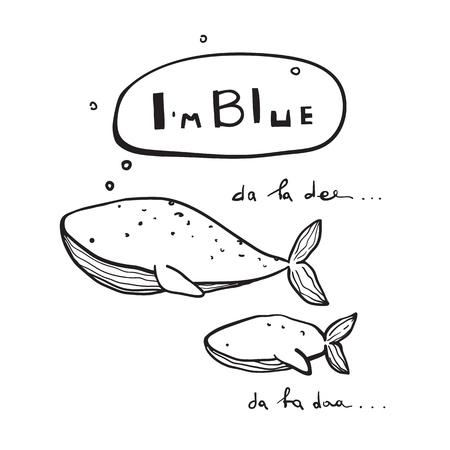 I am Blue singing whales fun print design. Vector illustration. Illustration