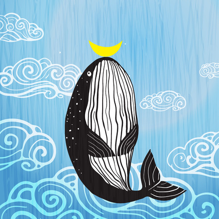 Cute Whale moon and ocean print design. Vector illustration.