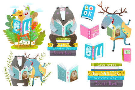 Cute forest animals friends with books studying. Vector illustration. Ilustrace