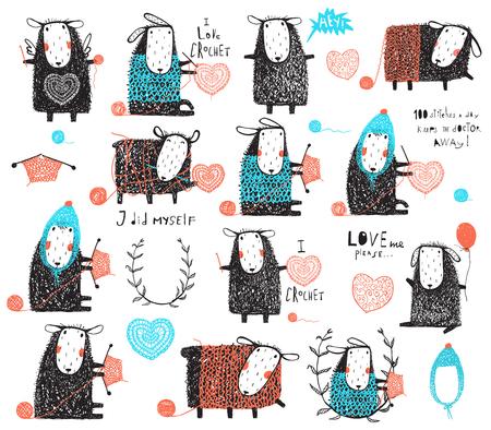 Grande collection d'éléments de clipart dessinés à la main de moutons à tricoter et au crochet pour la conception. Banque d'images