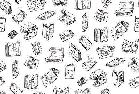 Seamless background of hand drawn black and white outline literature covers illustration.