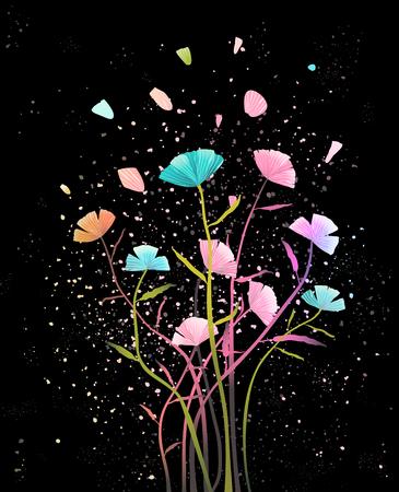 Disegno floreale su sfondo scuro. Disegno vettoriale. Vettoriali